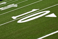 Football field. Close up of the ten yard line in a football field Stock Image