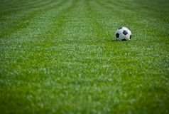Football field. And soccer ball on green grass Stock Images