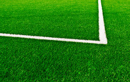 Football field. White line on football field fragment Royalty Free Stock Images