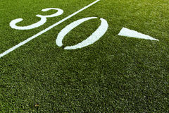 Football Field with 30 Yard. 30 Yard Line on Football Field Royalty Free Stock Image