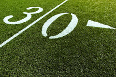 Football Field with 30 Yard. 30 Yard Line of Football Field royalty free stock photography