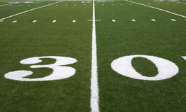 Football Field 30 Yard Line Stock Photo