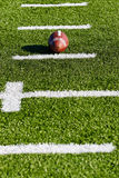 Football on Field. With Yardage Markers. Vertical View royalty free stock photo