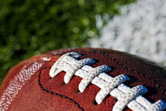 Football on Field. Close Up. Shallow DOF stock image