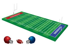 Football Field 3D. A 3D perspective vector illustration of a football field, with goal posts Stock Photo