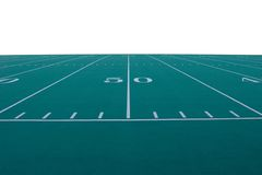 Football Field. American football field at the 50-yard line.  Field is isolated from background Stock Photography