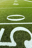 Football Field with 50, 40, 30. 50, 40, 30, 20 Yard Line in vertical position stock photo