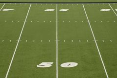 Football Field 50 Yard Line Stadium Royalty Free Stock Photo