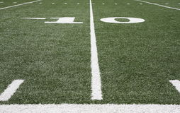 Football field. Grass and yard lines Royalty Free Stock Image