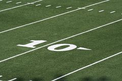 Football field. Grass and yard lines Royalty Free Stock Photo