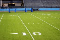 Football Field. At 10 yard line Royalty Free Stock Photos