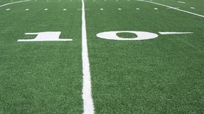 Football field. Grass and yard lines Stock Photos