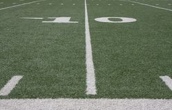 Football field. View of the Football field and yard lines Royalty Free Stock Image