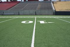 Football field. View of the Football field and yard lines Stock Images