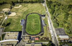 Football field aerial view Stock Photography