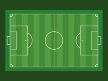 Football field aerial view on green background. Flat vector illustration Royalty Free Stock Photos