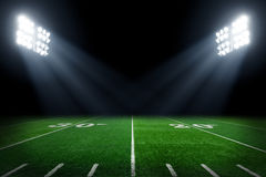 Football field. American football field at night Royalty Free Stock Photos