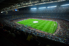 Football field and audience at stadium Nou Camp, Barcelona Royalty Free Stock Photos