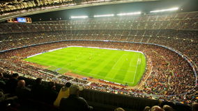 Football field and audience at stadium Nou Camp, Barcelona stock video footage
