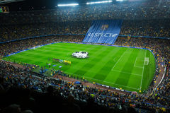 Football field and audience at stadium Nou Camp, Barcelona Royalty Free Stock Images