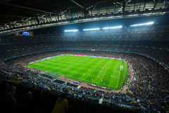 Football field and audience at stadium Nou Camp, Barcelona Royalty Free Stock Photo