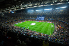 Football field and audience at stadium Nou Camp, Barcelona Stock Image