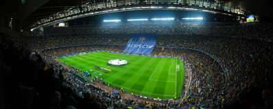 Football field and audience at stadium Nou Camp, Barcelona Royalty Free Stock Image