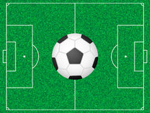 Football field and ball Royalty Free Stock Image