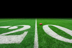 Football field with ball Royalty Free Stock Photo