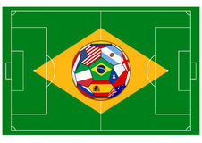 Football field with ball - Brazil 2014 Royalty Free Stock Image