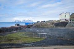 Football field in Barentsburg, Svalbard Stock Photos