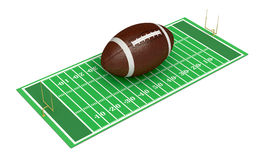 Football field. With a big ball on white background (3d render Stock Image