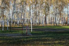 Football field in a birch grove. Royalty Free Stock Photography