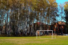 Football field in a birch grove. Stock Image