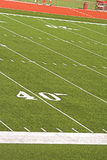 Football field from Bleachers Stock Photo