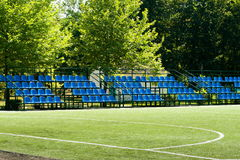 Football field with bleachers Stock Photography