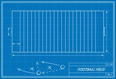 Football field on blueprint