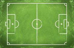 Football field on a board. Green blackboard with a drawing of a blank Football field stock image