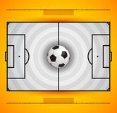 Football field with circular grass texture and soccer ball, yellow and white color combination Stock Images