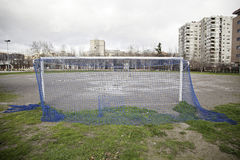 Football field in the city. Detailed urban football game, urban sport stock photo