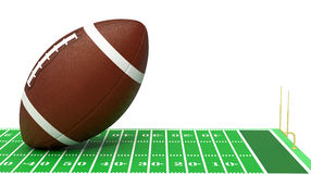 Football field. Close-up view of a football field with a big ball on white background (3d render Royalty Free Stock Photos