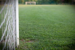 Football field. Close up view of the goal post Stock Image