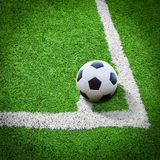 Football field conner. Soccer ball on football field conner Stock Image