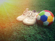 Football sport. Football on field with copy space, sport concept Royalty Free Stock Photo