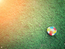 Football sport. Football on field with copy space, sport concept Stock Photos