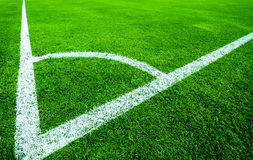 Football  field corner with white marks Stock Image