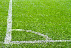 Football  field corner with white marks Royalty Free Stock Image