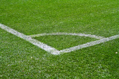 Football  field corner with white marks Royalty Free Stock Images