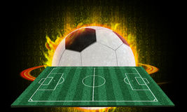 Football field 3d abstract. Ball of fire in the fire zone. And soccer field In digital format Royalty Free Stock Photos
