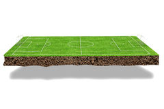 Football field 3d render Royalty Free Stock Photo